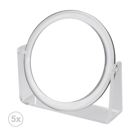 Bathroom mirror, Vanity, 5x, round, acrylic