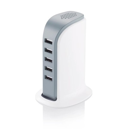 6A -5 poort USB oplaadstation, wit