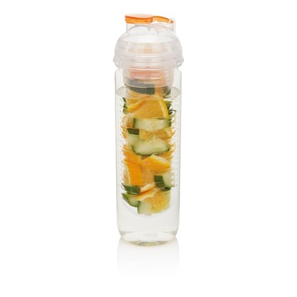 Waterfles met infuser, oranje